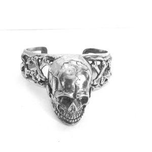 Sterling silver skull arm cuff